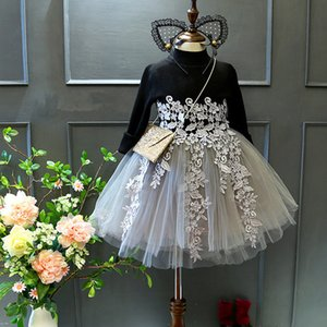 Children's Clothing Dresses Wholesale Spring Autumn Girls' Foreign Style Plush And Thickened Dress Baby's Upper Half Sweater Princess Skirt