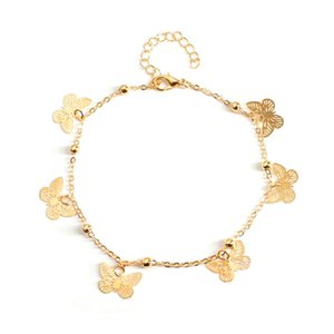 Beach Anklet Hollow Butterfly Shape Pendant Handmade Foot Ornaments Personality Fashion Sexy Alloy Jewelry Gift