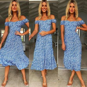 Casual Dresses Summer Romantic Retro Dress Ladies Floral Print Square Collar Ruffled Puff Sleeve Mid-length 2021