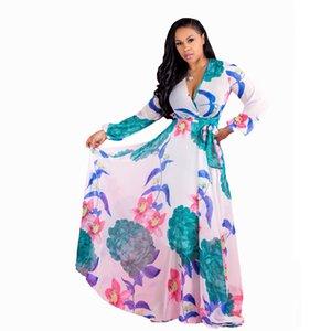 2021-2022 Designer Women Bohemia Dresses Fashion floral print Maxi Beach Dress Sexy sleeve casual Chiffon party dress