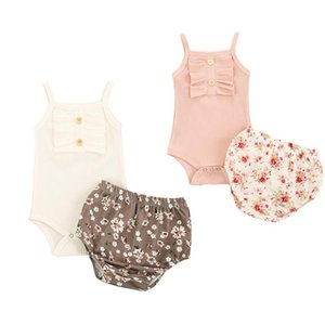 Clothing Sets Wallarenear 0-24M Born Infant Baby Girl 2Pcs Set Sleeveless Solid Kintiing Romper Top Daisy Printed Shorts 2Colors