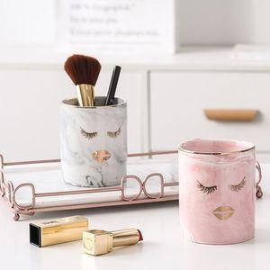 1pc Ceramic Pen Marble Texture Pencil Cup Pot Desk Organizer Makeup Brush Holder Home Storage 210330