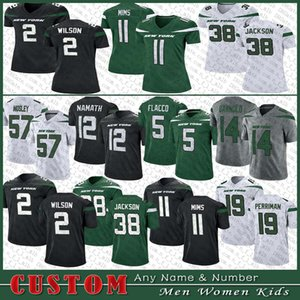 2 Zach Wilson Football Jersey 38 Lamar Jackson 77 Mekhi Becton 57 C.J. Mosley 20 Marcus Maye 11 Denzel Mims 26 Tevin Coleman 24 Revis Custom Men Women Kids New YorkJet