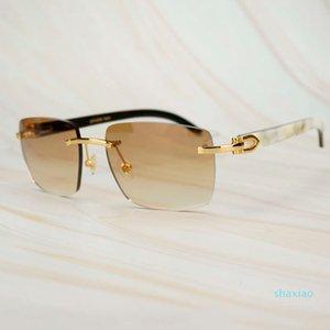 Модные квадратные солнцезащитные очки Men Carter White Black Buffalo Horn Ground Sun Glass для мужчин Винтаж Солнцезащитные очки Yello у роскошного дизайнера
