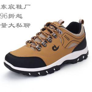 2020 Fall Color-Blocking Frontal Lace-Up Verano Hombre Khaki Corte bajo redondo Cabeza Casual Tacón plano Hombre Zapatos Senderismo Zapatos