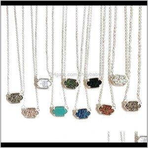 Pingente pingentes jóias entrega entrega 2021 chapeamento kendra drura drusy colar brilhante brincos scott sier ouro banhado a ouro geometria pedra resina