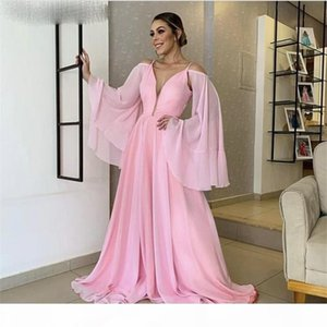 Elegant Pink Evening Dresses Fashion V-Neck A-Line Floor Length Simple Evening Dresses With Zipper Back vestidos de fiesta de noche