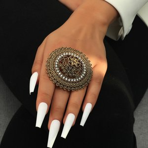 Big Rings Gold Color Banquet Wedding Ring Statement Jewelry Vintage Exaggerated Ring