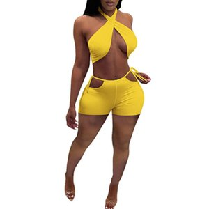 Two Piece Set Women Summer Sweat Suits Crop Top Bandage Hollow Biker Shorts Sexy Night Club Outfits Matching Sets Women's Tracksuits