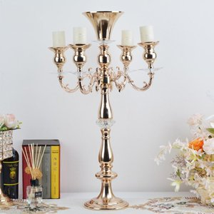 Gold Candlestick European Wedding Table Centerpieces Candlelight Decoration Party Event Dinner Candelabra Romantic Ornaments Candle Holders