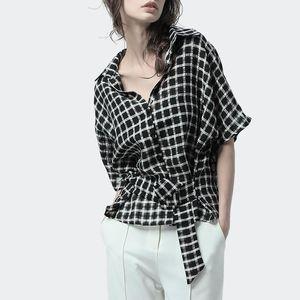 Women Summer Casual Black-White Plaid Shirt With Belt Short Sleeve Turn-down Collar Lanon Tops Loose Plus Size Korean Shirts Women's Blouses