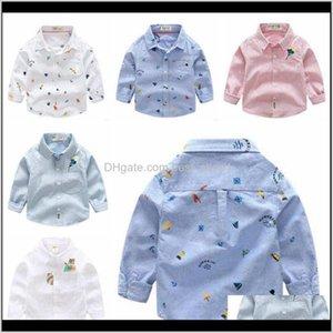 Детская одежда напечатанный мультфильм мальчики полосатая блузка мода с длинным рукавом футболки детские хлопковые топы дизайнерский отворот тройник H2DLL T4GYD