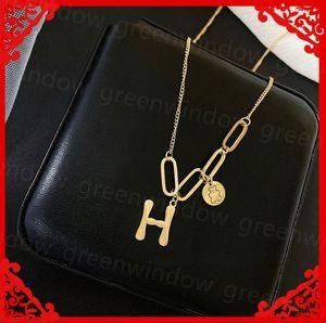 Women Luxury Designer Necklace Design Collarbone Chains Woman Steel H Letter Pendant Necklaces Fashion Clavicle Designer Jewelry H Plates