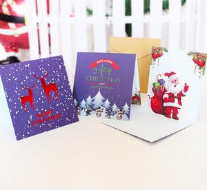 Christmas 3D Gilding Greeting Card Santa Claus Snowman Scarf Pattern Thicken Postcard Cartoon Handwriting Blessing Cards Wholesale