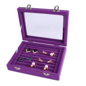 7 Colore Velvet Anello in vetro orecchino Gioielli Display Organizzatore Box Vassoio Supporto Scatola di immagazzinamento T200917 873 Q2