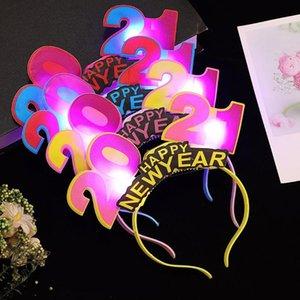 2021 New Year LED Light Headband Luminous Number 2021 Xmas Head Hoop Luminous Hair Clasp Festival Prop