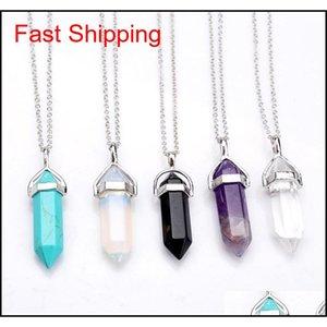 Форма настоящий аметист натуральный кристалл кварцевой целебный точка Chakra Bead Gemstone Opal камень кулон цепи ожерелья ювелирные изделия WCW082 WHAZ 03NHU