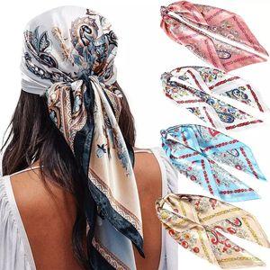 Fashion Scarf For Women Printing Silk Satin Hair Scarves Headscarf 90 * 90cm Square Neckerchief Headband Scarves For Ladies 2021