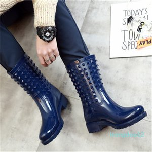 Lady Rubber Fashion Women Rivets Rainboots Non-slip Girls Waterproof Wading Boots Pvc Rain Shoes Q1216