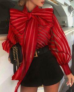 2021Fashion Women See Through Tops Shirts Sheer Mesh Bow Tie Blouse Long Puff Sleeve Shirt Elegant Female Work Formal Women's Blouses &