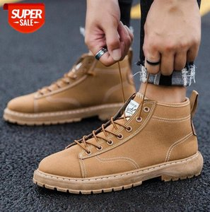 High Top Men Canvas Shoes Lace-up Casual Walking Sneakers Non Slip Flats Driving Student Outdoor British Footwear #9C13
