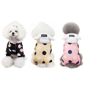 Winter Dog Clothes Hoodie Coat Big Polka Dot Cotton Thicken Warm For Small Dogs Puppy Sweater Pets Apparel