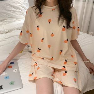 2021 Loose Casual Sleepwear Cute Summer Pajamas Set For Women Sleepwear T-Shirts and Shorts Orange Fruit Print Girl Pjs Homewear
