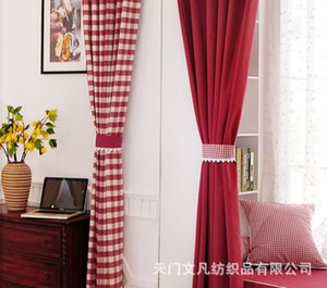 Plaid Red Yarn Dyed Pillow Tablecloth Classic Keqiao Curtain