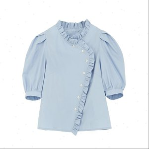 PERHAPS U white Women Blouses blue stand collar solid shirt puff short sleeve button blouse summer casual loose ruffle