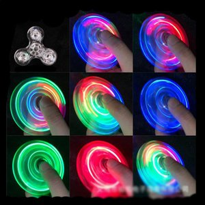 LED toy Transparent crystal gyroscope fingertip with light glowing dazzling luminous fingers spread good goods children's toy.