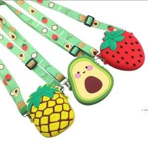 Creative moedas bolsa abacate desenho animado saco de morango bonito silicone crianças mini acessórios moda sacos hwa5094