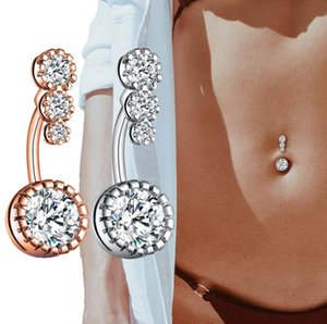 Crystal Belly Piercing Button Rings Bar Barbell Drop Dangle Navel Rings Nombril Ombligo Ring Women Men Body Jewelry