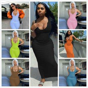 Diseñadores Maxi Vestidos largos para Mujeres U-Cuello U-Cuello de mangas Largo Bodycon Vestido Sexy Negro Blanco Vestido Club Desgaste Falda