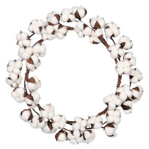 Cotton Wreath Boll Rustic Wreaths For Front Door Wedding Parties Home Decoration Decorative Flowers &