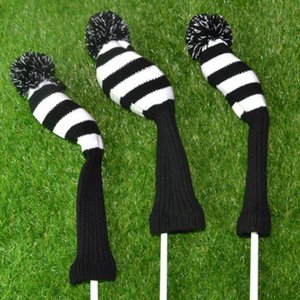3pcs Accessories Sports Long Neck Knitted Anti Scratch Protective For Driver Big Pom Golf Dustproof Soft Headcover Set Club Heads