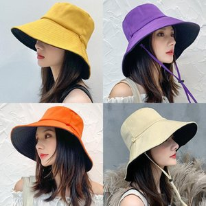 2021 summer fisherman hat women solid color double-sided cover UV protection cap big edge sun protection hat woman
