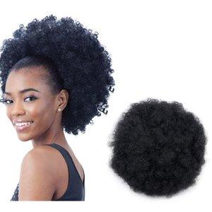 10inch courte courte afro bouffée de cheveux synthétiques chèvre de chignon de chignon pour femmes cordon de cordon Kinky Curly Updo Clip Exten Clips Barrettes