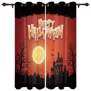 Curtain & Drapes Modern Curtains Halloween Castle Moon Bat Spooky Baby Room Bedroom Creative Kitchen Living Terrace Valance