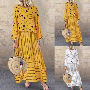 Echoine Women long maxi dresses Polka dot large loose fake two-piece cotton linen dress autumn plus size sundress female cloth