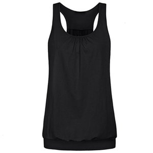 Womens Solid Vest Sleeveless Round Neck Wrinkled Loose Racerback Workout streetwear Tank Top Blouse Women's Clothing Camisole