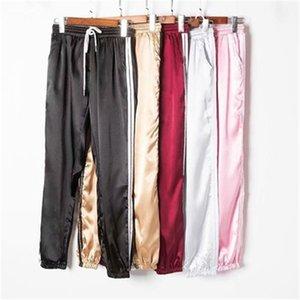 Kadın Yaz Saten Kargo Pantolon Kadın Avrupa Gevşek Rahat Spor Kadın Joggers Streetwear Kargo Pantolon Kadınlar