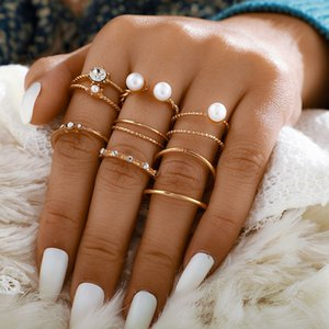 New simple style ring set with pearl inlaid diamond opening 8-piece joint