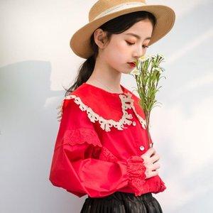 Shirts 2021 Spring Long Sleeve Red Shirt For Junior Girl Elegant School Tops Clothing