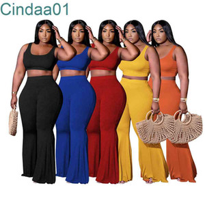 Women Two Pieces Pants Designer Outfits Slim Sexy Sleeveless High Waist Top Flared Pants Solid Colour Sportwear 5 Colours Plus Size S-4XL