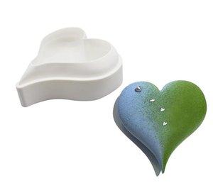 Wholesale diamante 3D amor corazón forma de silicona moldes moldes para hornear esponja gasa mousse postre pastel de comida