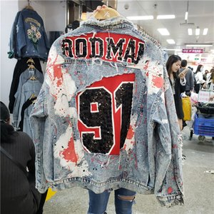 2020 Spring Harajuku Graffiti Print Sequins Denim Jacket Women's Loose Jackets Spring Fall Street Wear Fashion Student Basic Coats