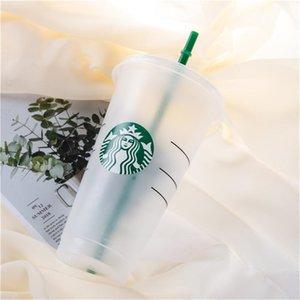 24oz 710ml Mermaid Goddess Starbucks Plastic Mugs Tumbler Reusable Clear Drinking Flat Bottom Pillar Shape Lid Straw Cups mug