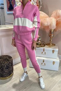 Two-color Panelled Womens Sports Tracksuits Fashion Zipper Stand-up Collar Sweater Suits Designer Female Long Sleeve Drawstring Trousers Sets
