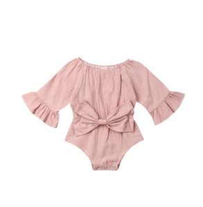 kids clothes girls boys Solid romper newborn infant Bow Bell sleeve Jumpsuits 2019 Spring autumn baby Climbing clothes C2180 48 Y2