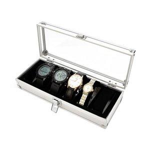 Часы Ящики Шкафы 6 Слоты Коробка Алюминиевый Дисплей Чехол Организатор Ювелирных Изделий Запись Лоток BMF88